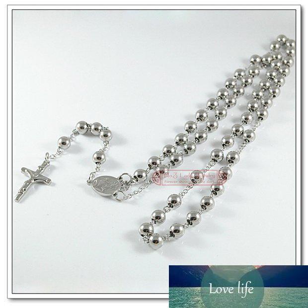 """Gioielli religioso cattolico, collana di perline dell'acciaio inossidabile di modo Uomini Rosario, 29"""" Long, commercio all'ingrosso libero di trasporto WRN03"""