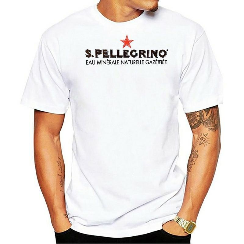 Männer beiläufige Art und Weise T-Shirt Lustiges San Pellegrino Roter Stern Männer Round Kragen Baumwolle White Top-kurzärmliges