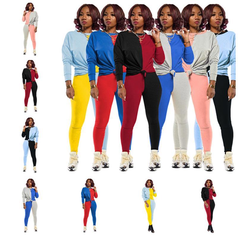 النساء رياضية المصممين طويل الأكمام تي شيرت سروال اللباس الخريف أزياء الشتاء تباين الألوان المرقعة قطعتين بدلة D82408