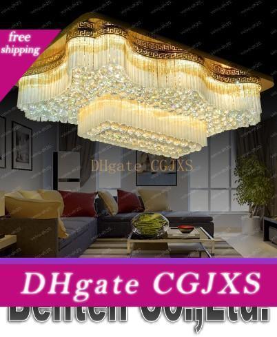 Yeni Avrupa Tarzı Dikdörtgen K9 Kristal Lambalar Led Tavan Işık Yemek Odası Otel Villaları Lüks Dikdörtgen Salon Aydınlatma Llfa