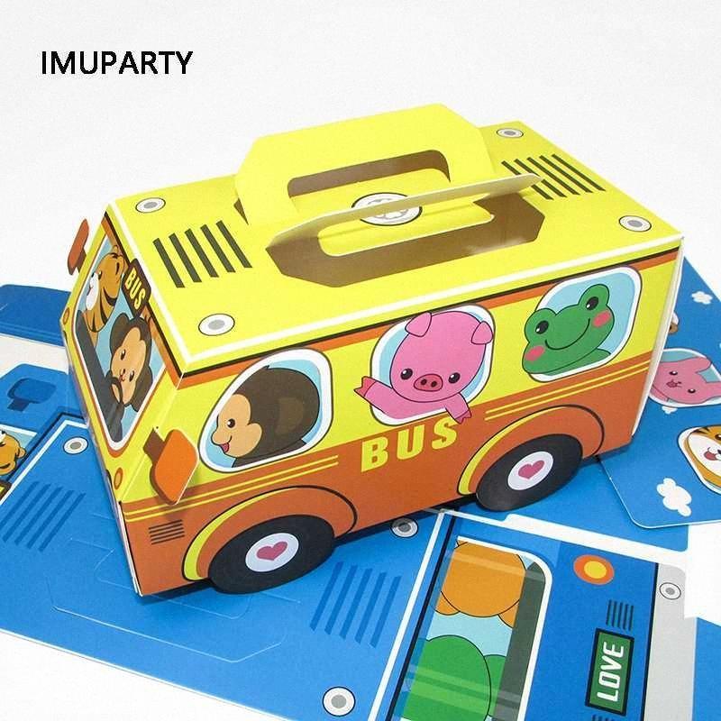 Çocuklar doğum günü partisi Otomobil Geri Okulu Parti Süsleri ndwE için # Kutu Hediye Bag Packaging otobüs şekil Şeker Kutusu Hayvanlar In Car Kek