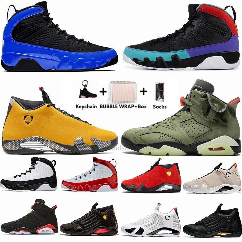 Nike 2020 14s SE Negro trueno del bastón de caramelo 14 zapatos de baloncesto del Mens 9 sueño es lo que hace crió UNC 9s Deportes zapatillas de deporte 6s con la caja Trainer