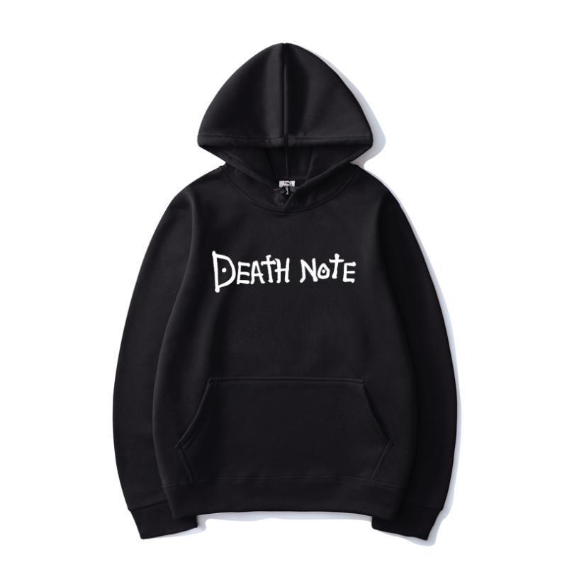 Nota da morte carta de cor sólida impressa hoodies harajuku hip hop streetwear homens mulheres anime com capuz moletom hoodie tops