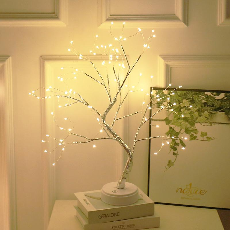 배터리 나무 램프 장식 LED 조명 트리 밤 빛 요정 USB 터치 데스크 표 키즈 침실 따뜻한 화이트 밤 침대 옆 램프를 운영
