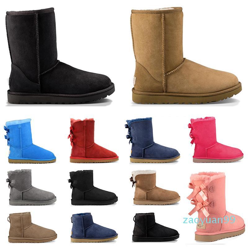 Sıcak Satış-2020 kadın kar botları üçlü siyah kestane kahverengi lacivert kırmızı bej moda klasik ayak bileği kısa çizme patik kışlık ayakkabı womens