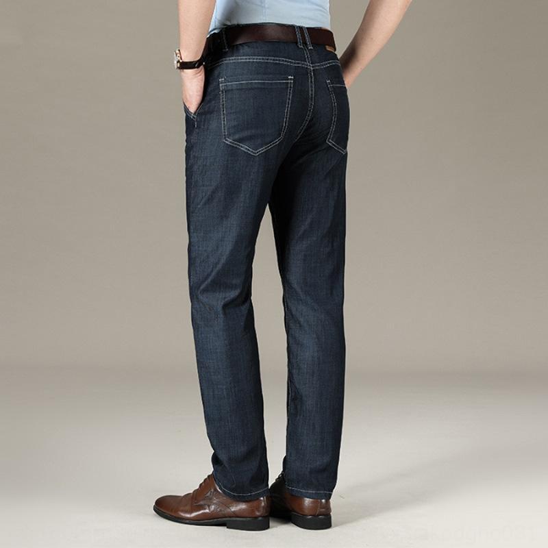 Estate casuale vita alta tubo diritto sottile affari pantaloni casual di ghiaccio sciolto elastico e pantaloni di mezza età dei jeans di seta Tencel Jeans uomo O4