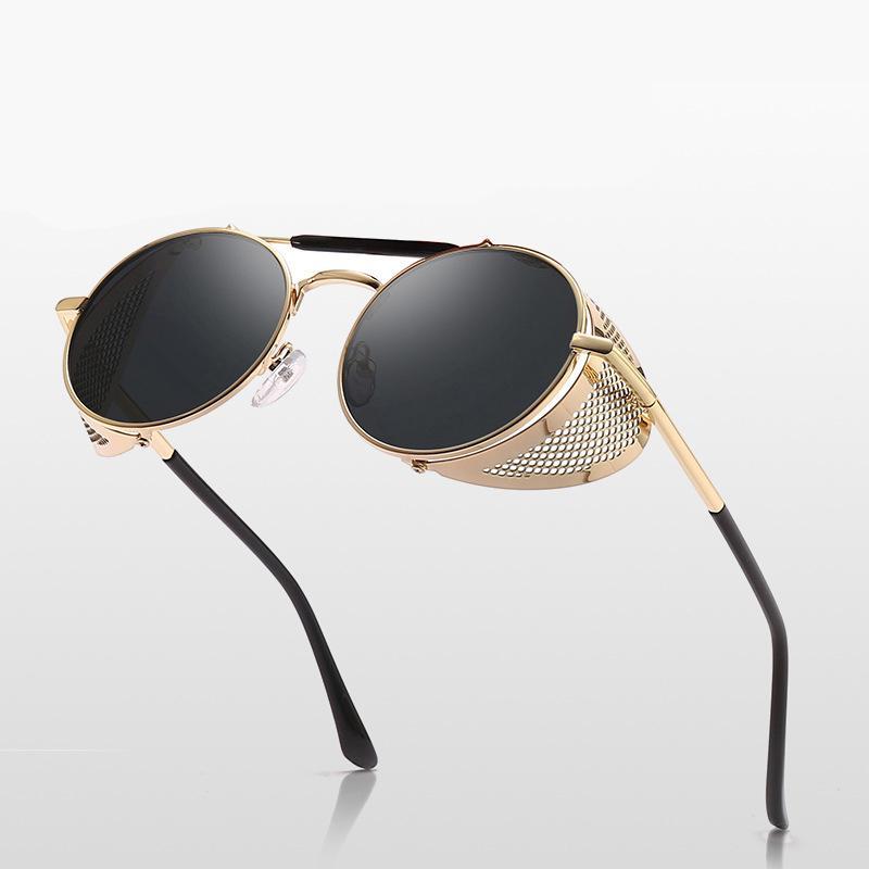 Klassische Vintage-Sonnenbrille für Frauen Männer gespiegelten UV400-Linsen-Punk-Stil Metallrahmen A09