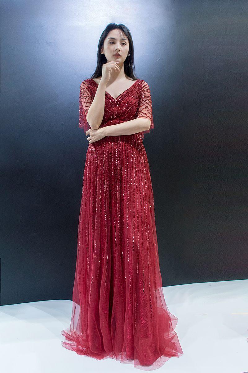 5701 En Stock classique Robes de soirée Perles Paillettes V-cou Zipper Robes de bal femmes Tenues de soirée Vente