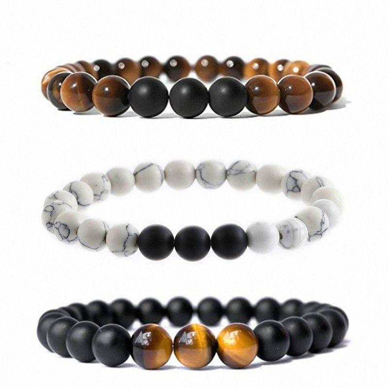 Unisex estiramento Pedra Natural Strand Pulseiras Pulseira Bangles Tiger Eye Lava Pedra Matte Black Bracelet Beads encanto das mulheres dos homens # S XEdz #