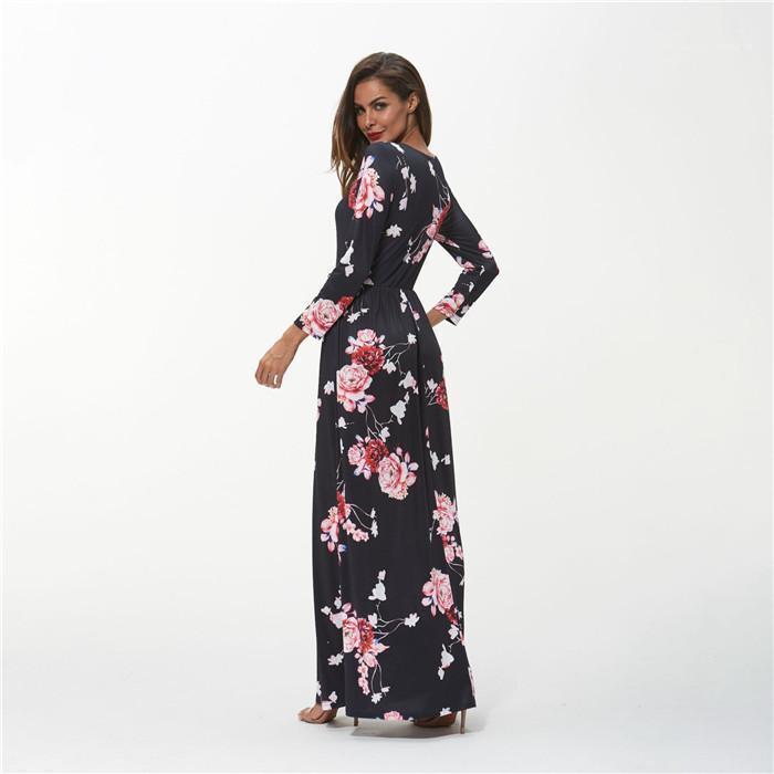 Böhmen Blumenkleid Langarm Rundhalsausschnitt Frühlings-Herbst-Kleid Damen-lässige Kleidung der Frauen