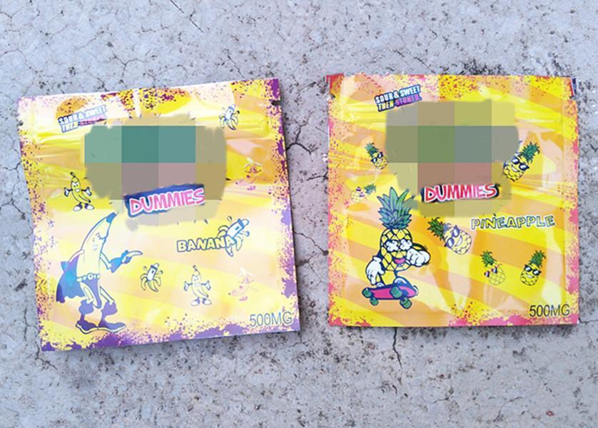 2020 più nuove gomme al vuoti commestibili imballaggio di colore giallo sacchetto di caramelle sacchetto di mylar 500mg cerniera richiudibile logo personalizzato