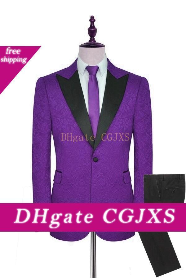 Custom Made Hommes Costumes Motif pourpre et noir smokings marié pic satin Lapel Groomsmen mariage Best Man 2 pièces (veste pantalon Tie) L500