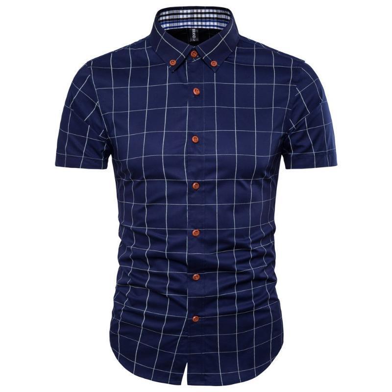 Männer Lässige Hemden Männer Kurzarm Hemd Männliche Marke 2021 Herren Plaid Kleid Hawaiianer Camisa Social Masculina Plus Größe