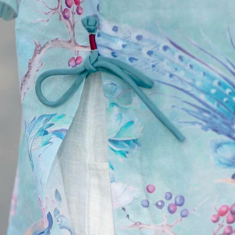 x8M7h wlj0m Mittellange und Sommer dünne lose chinesischen Stil gedruckt Hülse sieben Viertel kleine Top Shirt Ramie Frühlings-Frauen Shirt Boxer oben