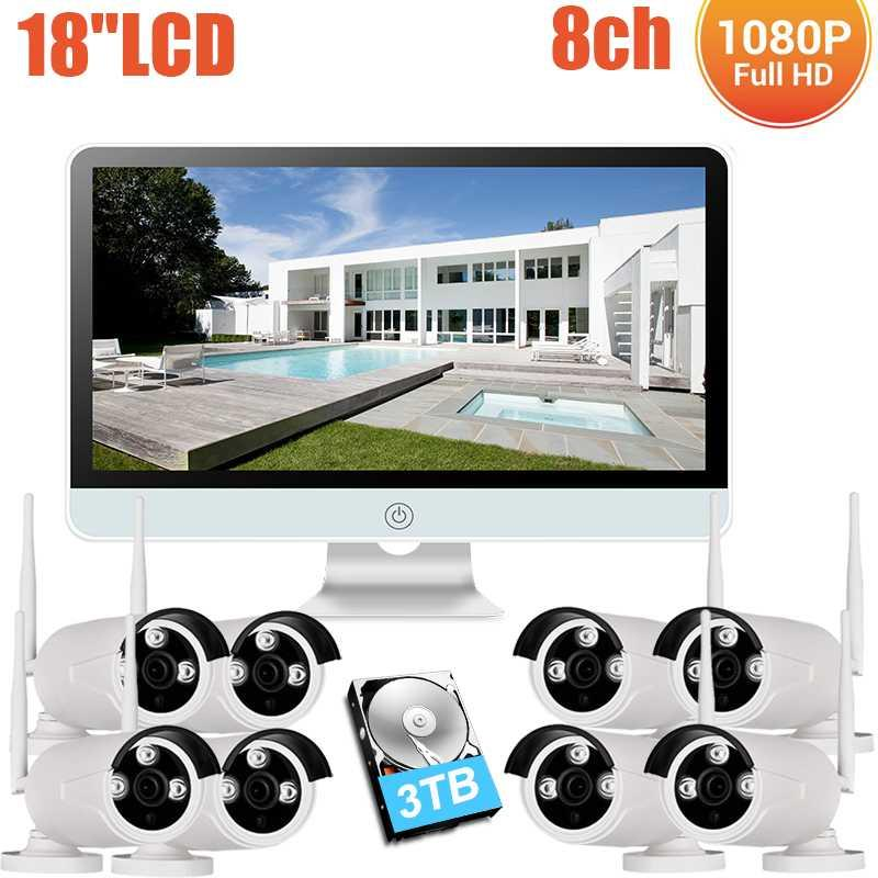 """8CH 18""""LCD Monitor 1080P Wireless NVR Kit IP66 Waterproof 2MP Home Security CCTV IP Camera Outdoor Wifi Surveillance System Kits"""