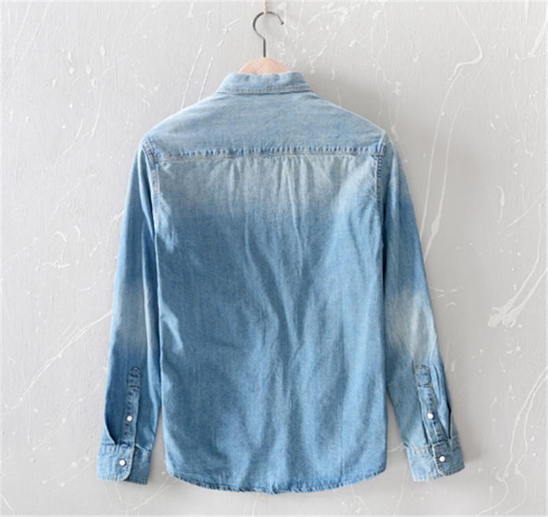 Jeans Giacche Slim manica lunga moda maschile bavero casuale Primavera Camicie Uomo Outwear Designer Mens Pocket