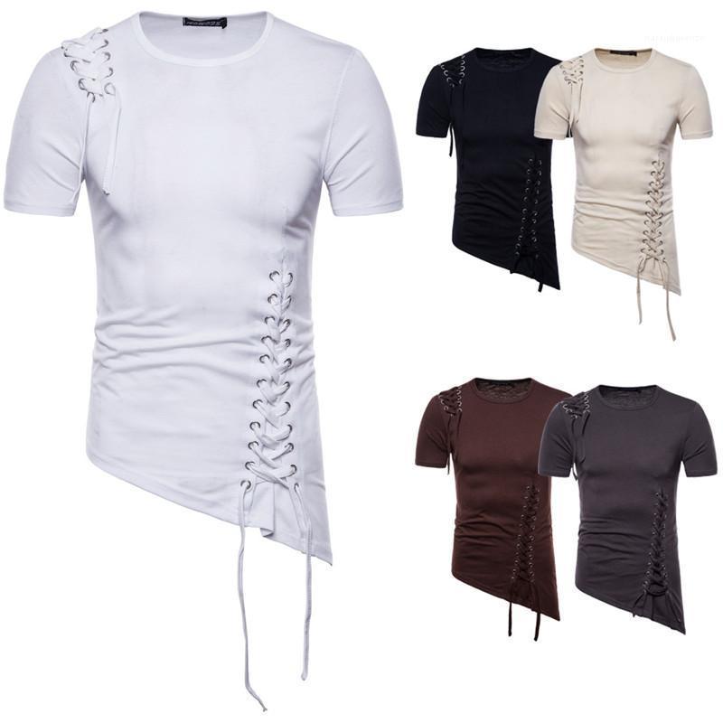 Beiläufige Mens-Sommer-T-Shirt Short Sleeve Solid Color O Ansatz schnüren sich oben Asymmetrische Tees Tops Neue Herrenkleidung