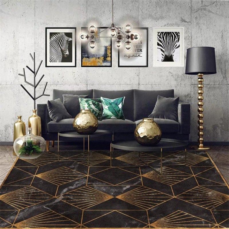 Moda d'oro geometrica imitazione marmo nero Moquette Camera Soggiorno di slittamento non Zerbino scendiletto su ordine Tappetino t7Ay #
