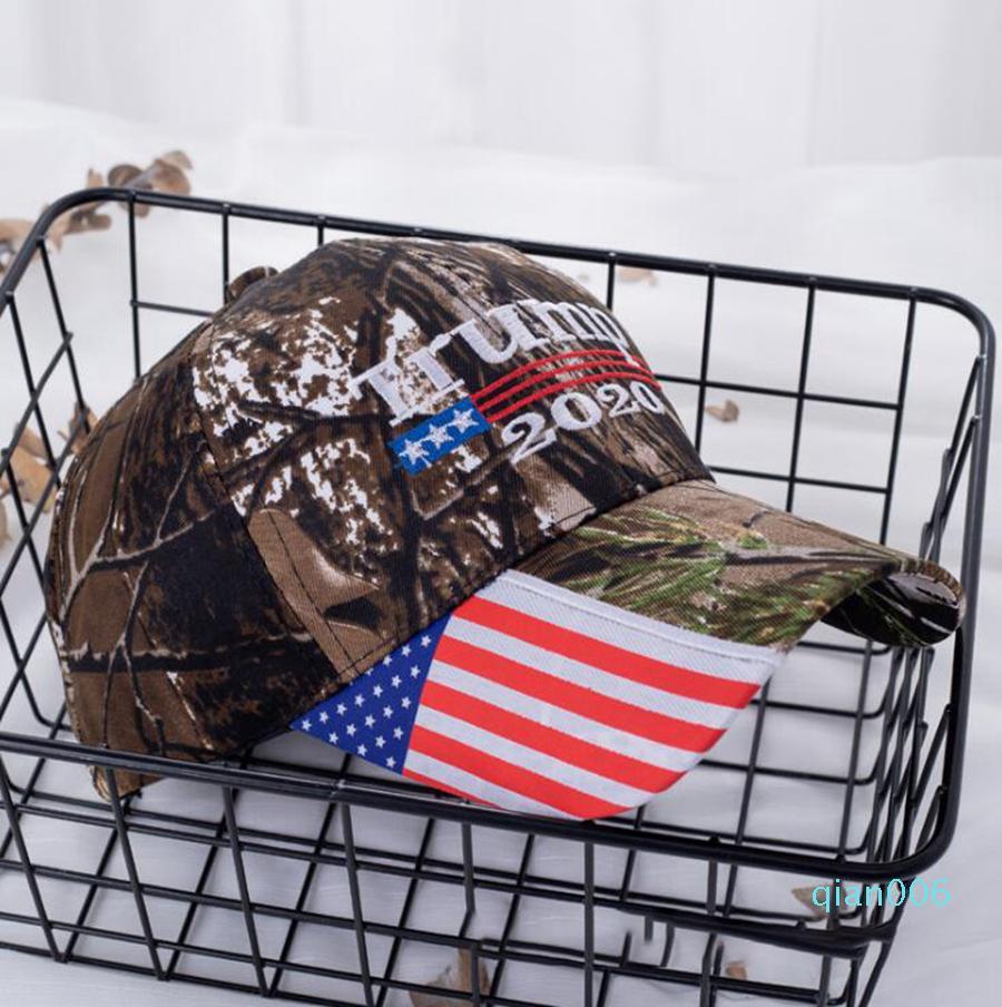 Donald Trump Hat tornar a América Great Again bordado bandeira dos EUA Re-Eleição Cotton boné de beisebol Outdoor Camuflagem Chapéus LJJO8237