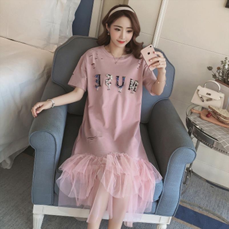 2020 Spring Summer New Women Sweet Loose Hole Short sleeved Shirt Dress Mesh Stitching Fishtail Knee length Dresses Pink Black