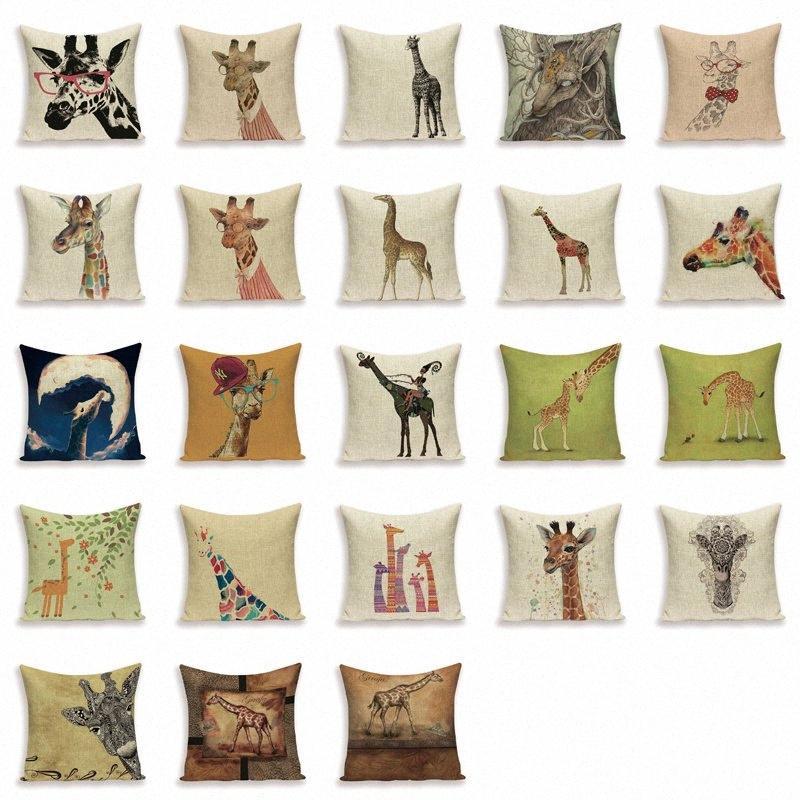 Ciervos de dibujos animados del amortiguador de la caja del estilo de país de la jirafa Animal almohada sofá cama ropa Decoración almohadilla de tiro Cubre Funda De Cojin 9WGd #