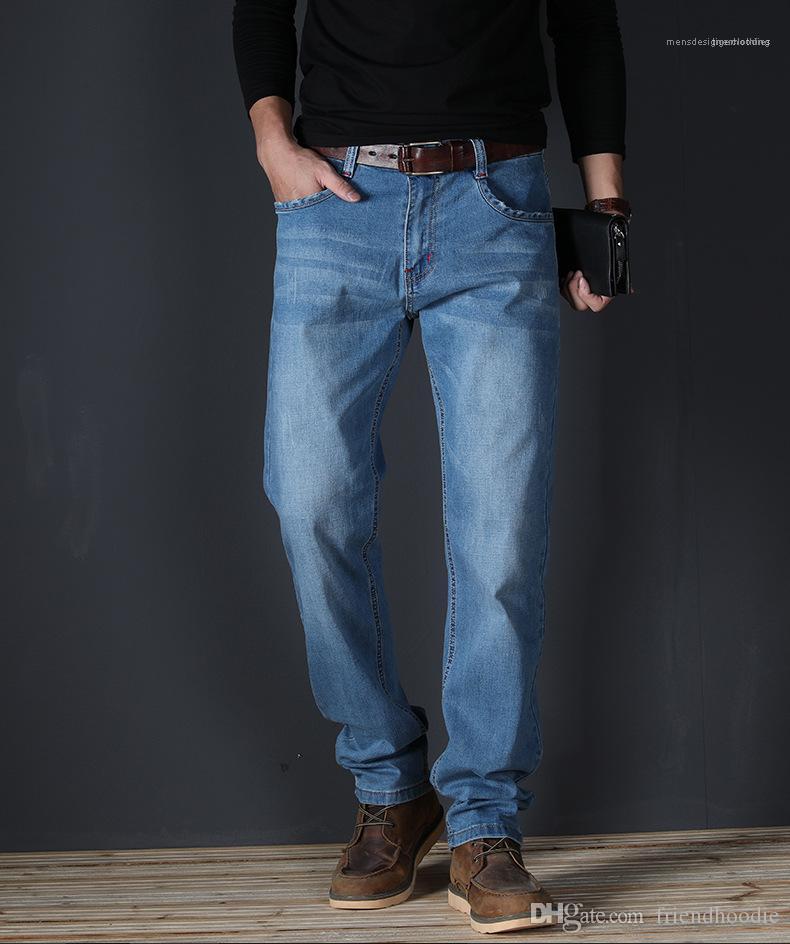Stretch Jeans Hommes Avec Bouton Slim Straight Mid taille Hommes Jeans Été Lumière Washed