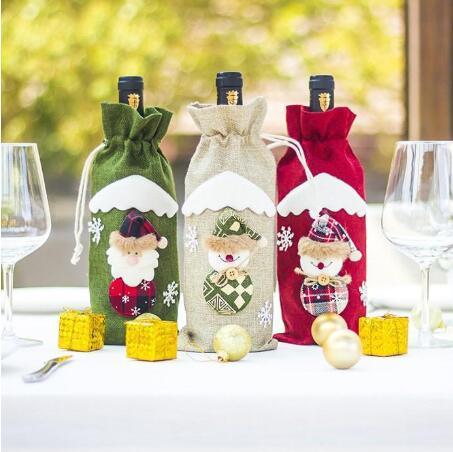 Borse Borsa Wine Natale Santa Snowman stampato birra vino rosso Champagne Moda winebottle Borse Festa di Natale Decorazione WY268
