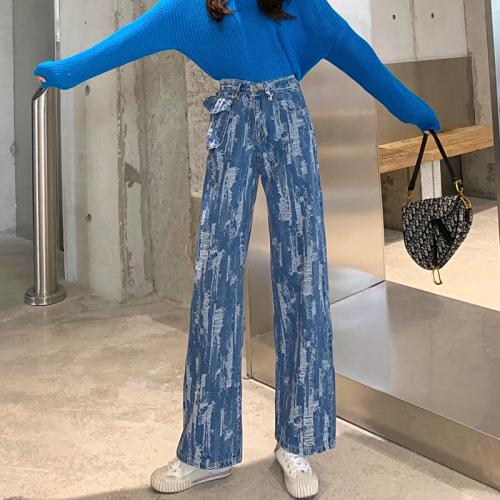 Yeni Fırçalı Doku Jeans Moda Yüksek Waist Geniş Bacak Pantolon Düz Gevşek Mop Pantolon Sıkıntılı Kadınlar Kot Yıkanmış