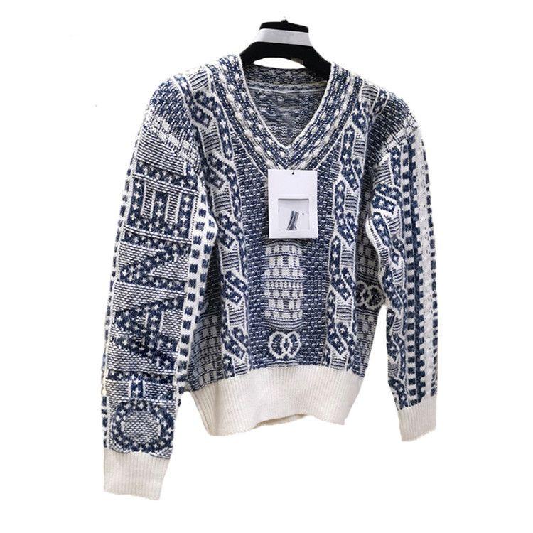 New Fashion Catwalk Knit Pullover V-Ausschnitt langärmeliger Pullover Casual Lose Mantel Pullover Kostenloser Versand