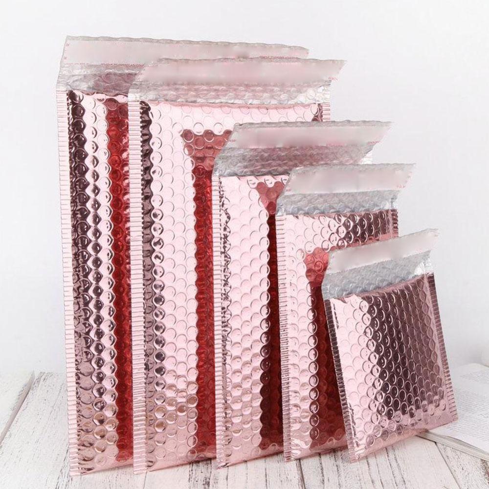 Rosegold Kabarcık Zarf Su Geçirmez Köpük Folyo Nakliye Posta Çantası Hediye Ambalaj Için Düğün Favor Çanta Posta Zarflar