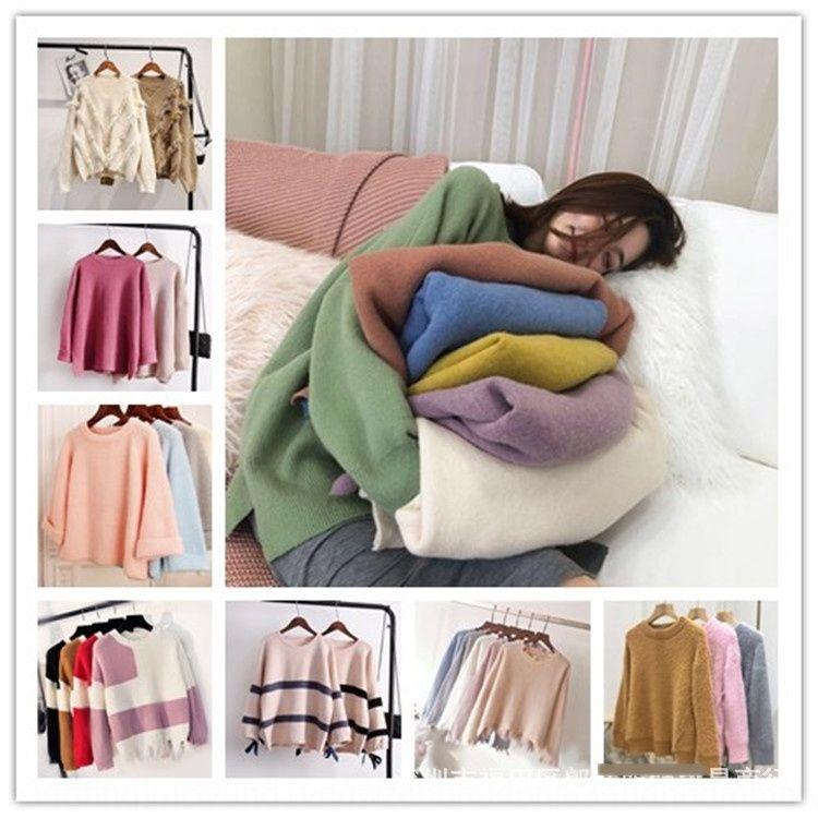 Otoño y géneros de punto jersey de punto prendas de punto de invierno nuevas mujeres engrosadas suéter de moda de las mujeres Varios clara
