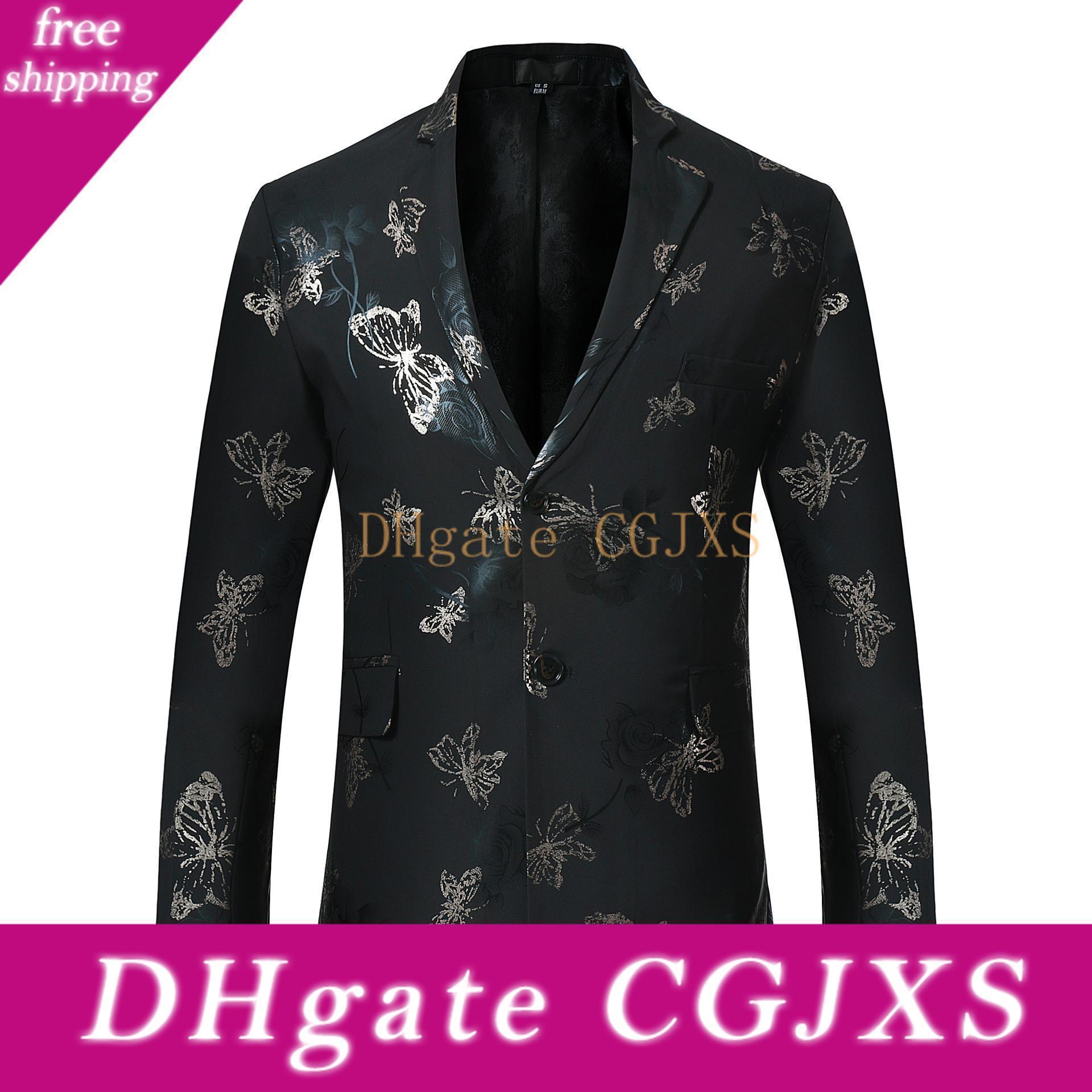 Pyjtrl Mode Blazer Männer Blumenmuster dünne Einreiher Blazer Jacke