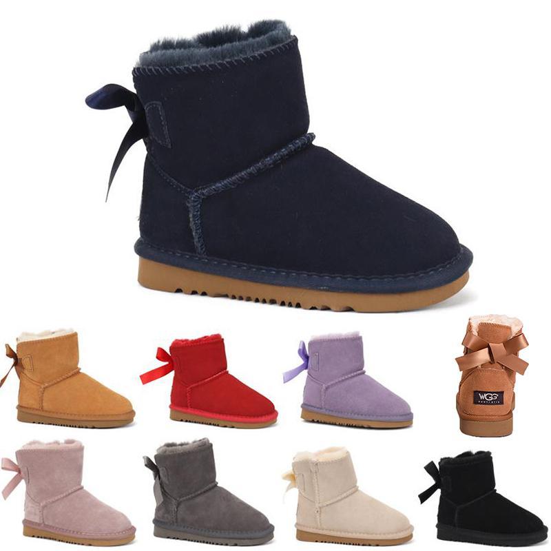 Hot vente Bottes femmes Bottes Courtes Classique genou Bottes d'hiver neige Designer Bow bottillons cheville Bow Tie Noir Bleu Gris Chatain Rouge