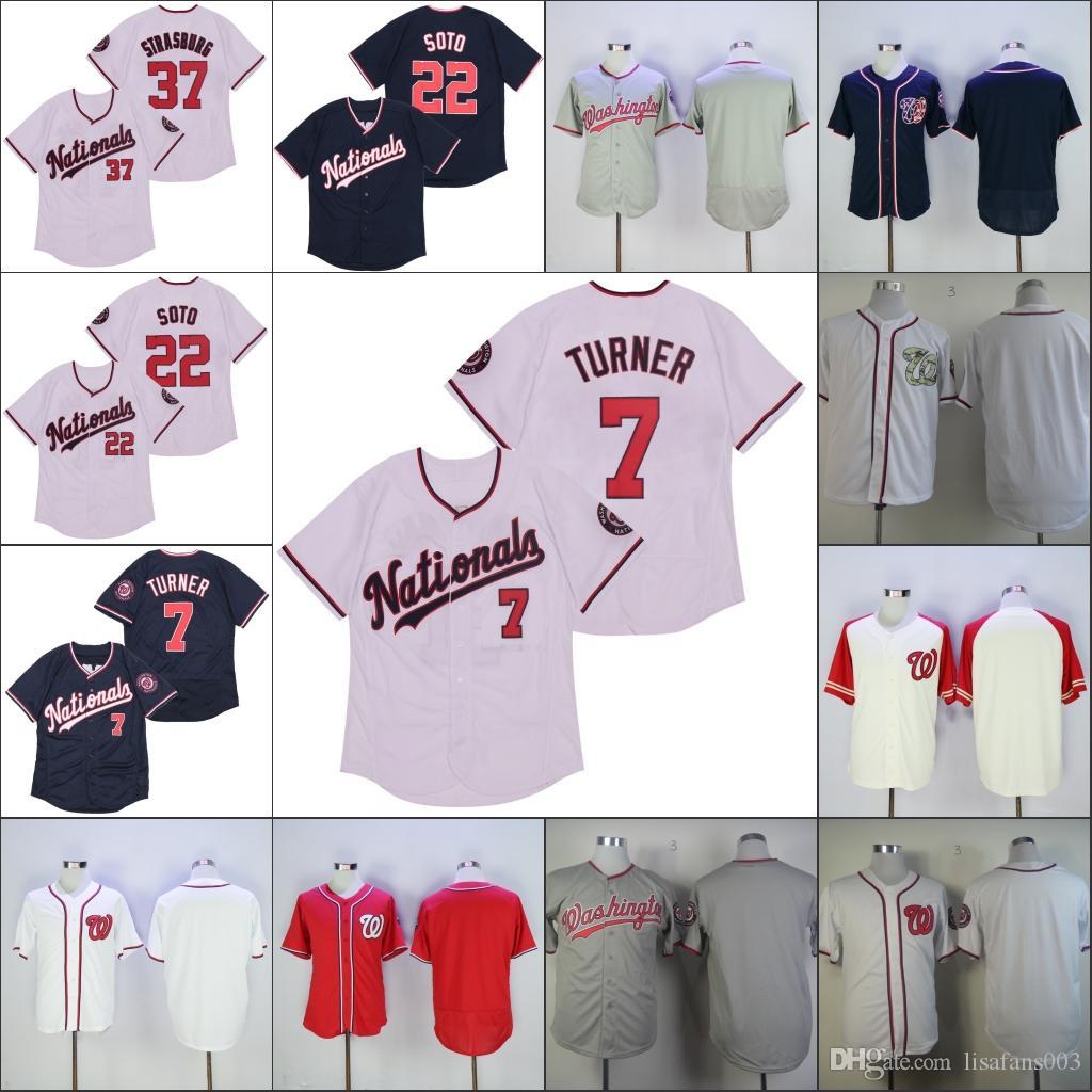 22 Juan Soto sur mesure Jersey 31 Max Scherzer 37 Stephen Strasburg 7 Trea Turner Baseball Jersey Broderie Logos