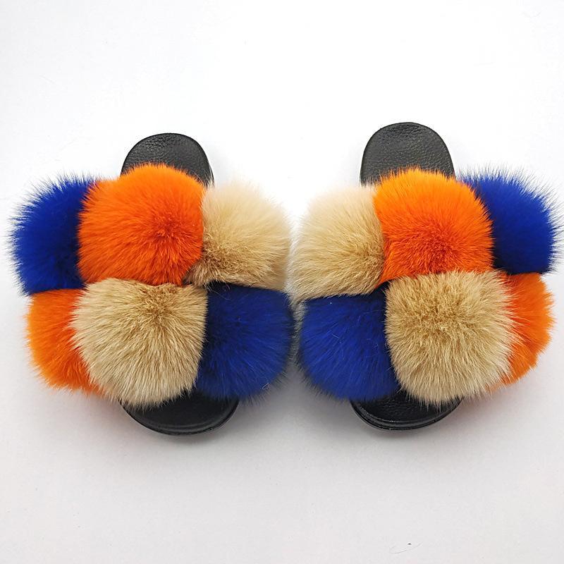 Deslizadores de los zapatos de la mujer Casa peludo Diapositivas dulce de las mujeres señoras de la moda femenina sandalias planas de piel de las mujeres de interior caliente de invierno deslizador