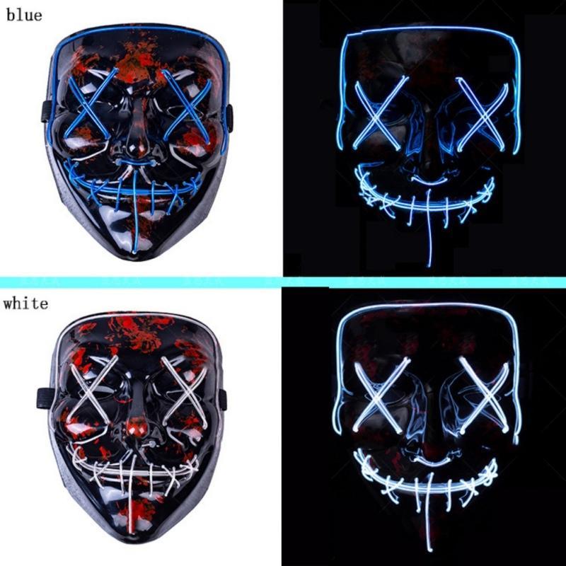 For Vendetta Cadılar Bayramı Maskesi LED Işık Up Parti Maskeler Neon Maska Cosplay Maskara Korku Mascarillas Glow In The Dark Maske V