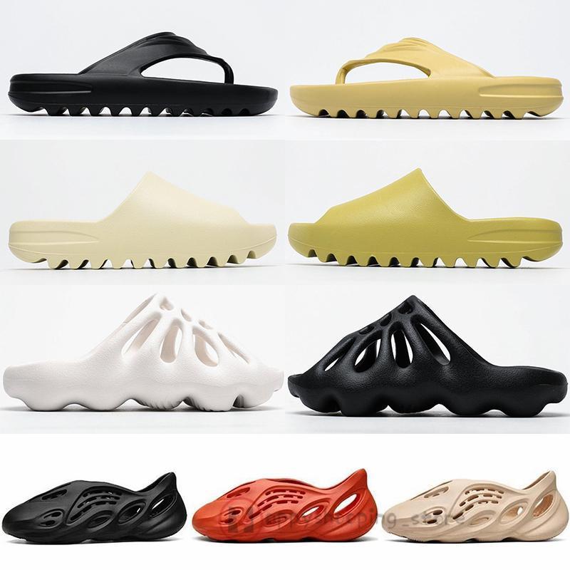 Köpük Runner Kanye West Slaytlar 450 Kemik Beyaz Üçlü Siyah Reçine Sandalet Erkekler Kadınlar Erkek Moda Loafers Flop'lar Terlik Açık aylaklarının çevirin