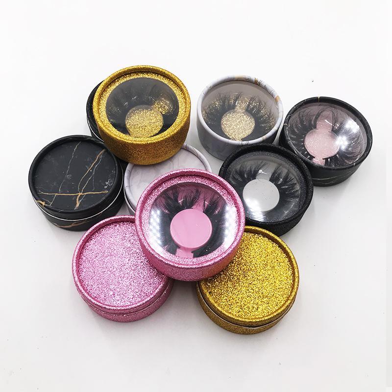 Personalizar la pestaña del cuadro de brillo magnético mármol Círculo Lash Caja Caja de 3D 5D Mink Strip Lashes Pestañas Vacío Caso