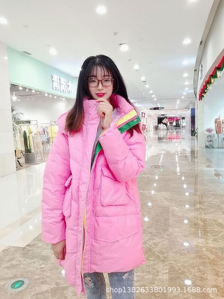Pão jacketseason das mulheres jaqueta de pato branco para baixo de comprimento médio com capuz cor contraste estilo coreano doce cor solta pão casaco elegante