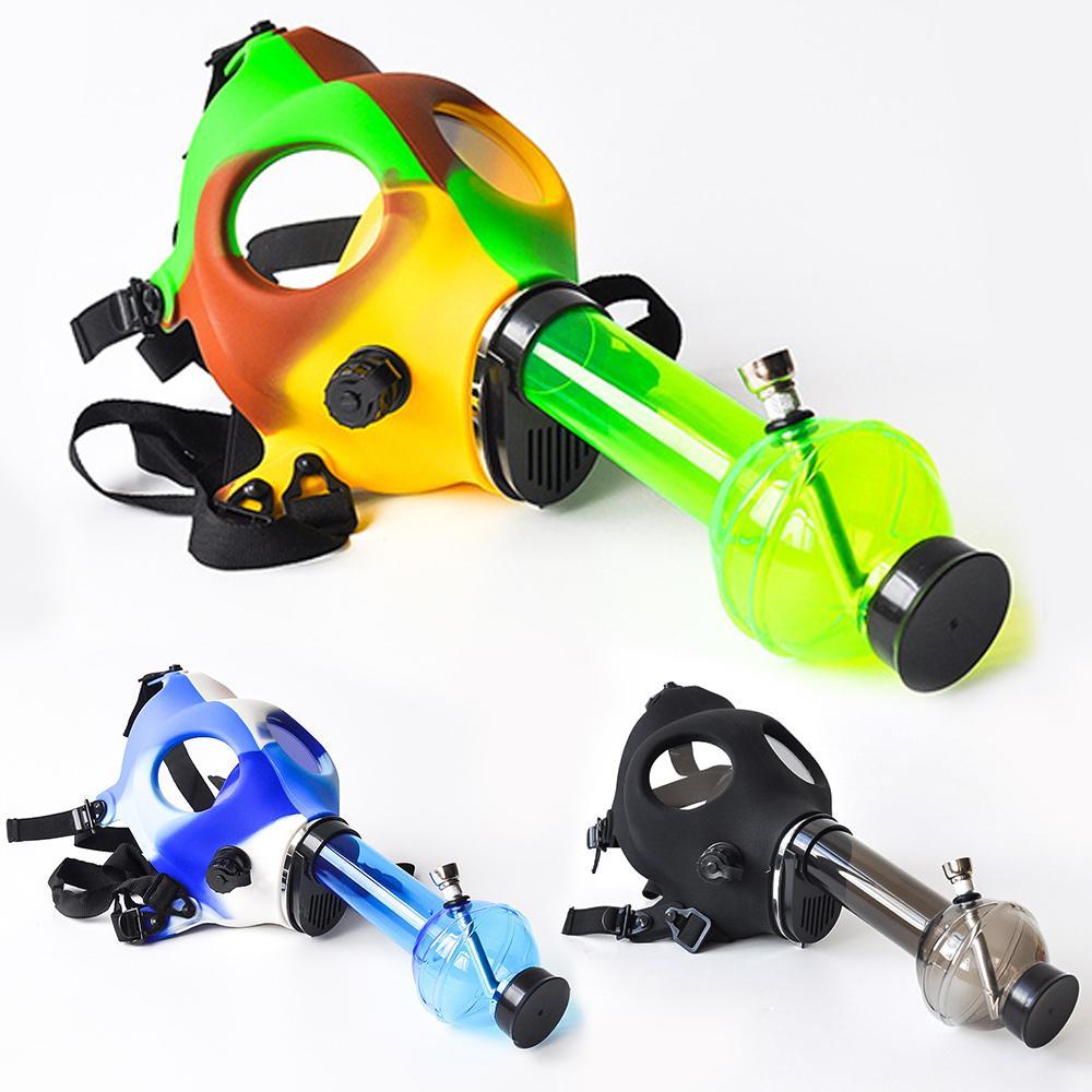 Silicone Mask Creative Acrylic Smoking Pipe Gas Mask Pipes Acrylic Bongs Tabacco Shisha Pipe water pipe Free Shipping