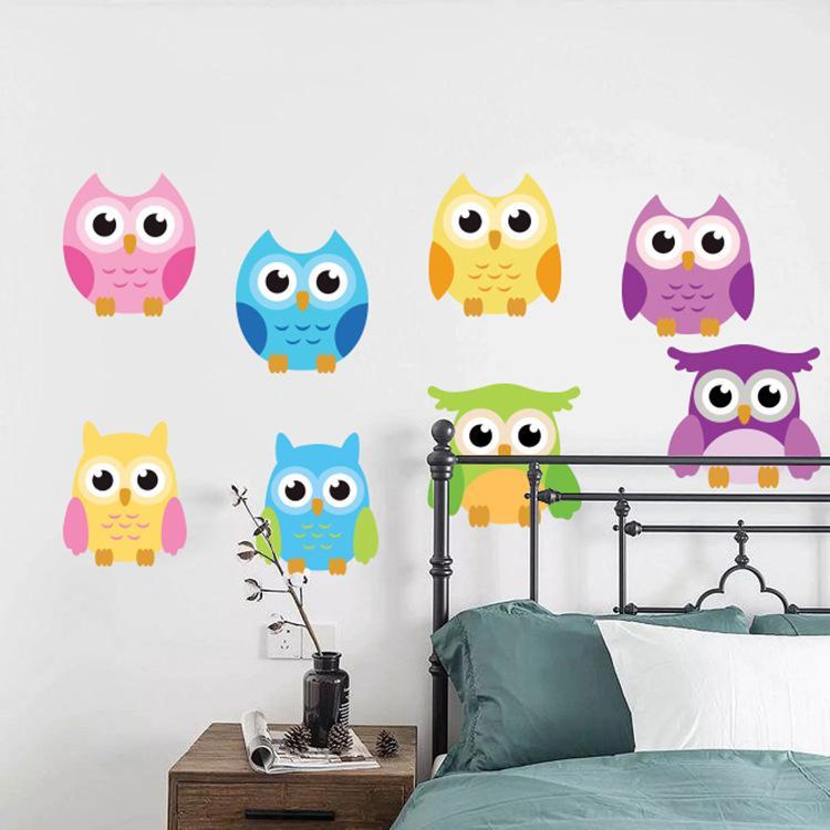 البومة الكرتون على الحيوانات شجرة ملصقات الحائط لغرف الاطفال الطفل جدارية الفن الشارات ملصقا الحضانة خلفية للديكور المنزل