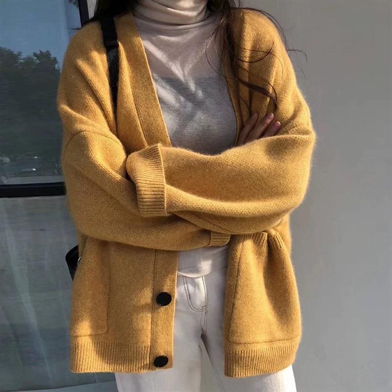 Pu3GW 2020 Mantel und Herbst neuer feste Farbe Mantel faul Pullover Stil Frühlingsfrauen lange loser Allgleiches Hülse Pullover sanft Schale