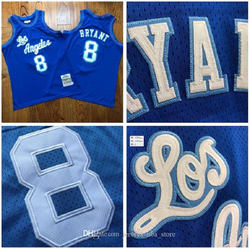 Los hombresÁngelesLakersKobeBryantMitchell Ness 1996-1997 azul maderas duras Clásicos del jersey del jugador 02