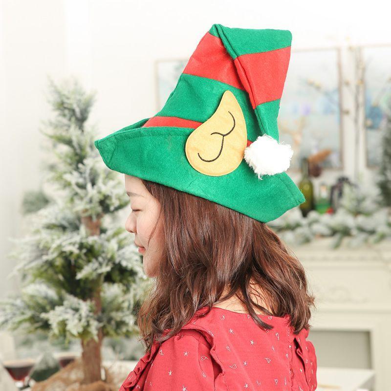 قبعة زينة عيد الميلاد مع آذان أحمر تصميم مخطط أخضر واحد حجم واحد غير المنسوجة قزم