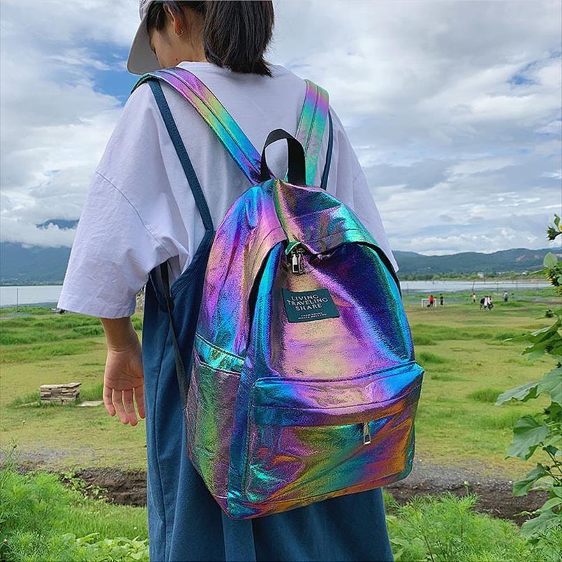 2019 donne versione olografica laser Unicorn zaino femminile coreana della marea Colorful studente di scuola borsa zaino zainetto