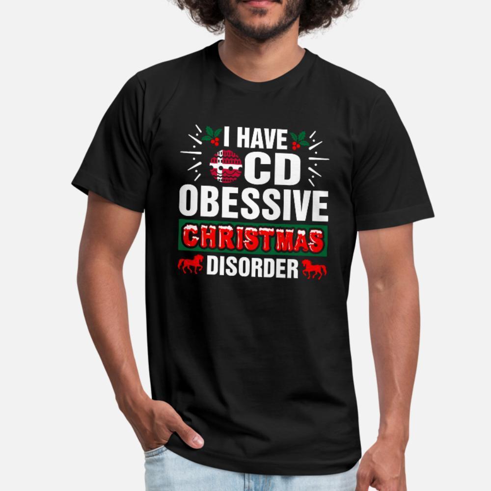 Trastorno obsesivo que tengo de Navidad danesa Diseño camiseta de los hombres manga corta cuello redondo original regalo divertido otoño del resorte de la camisa del patrón