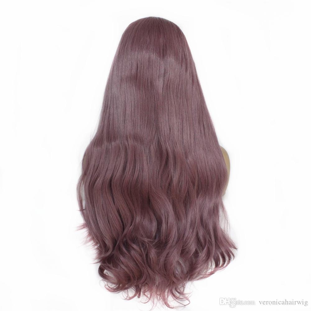 Mode longue onduleux synthétique avant de dentelle perruque Glueless Violet haute température résistant à la chaleur fibre cheveux cosplay perruques pour les femmes