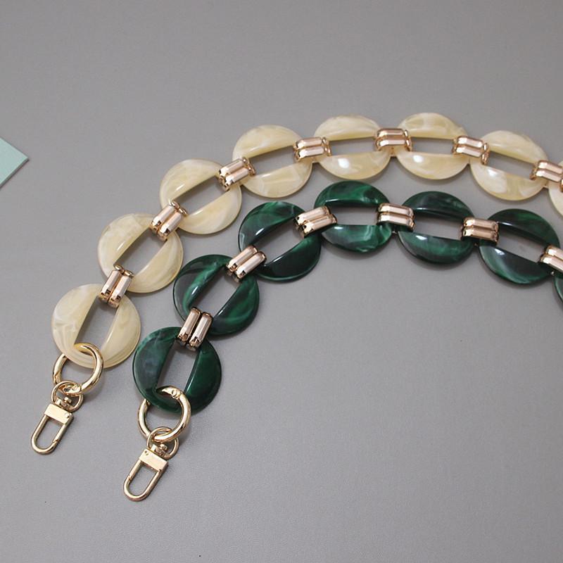 Frizione Catena Catena di ricambio nuova donna di modo Sacchetto accessorio staccabile Verde Beige metallo acrilico di lusso Tracolla Donne