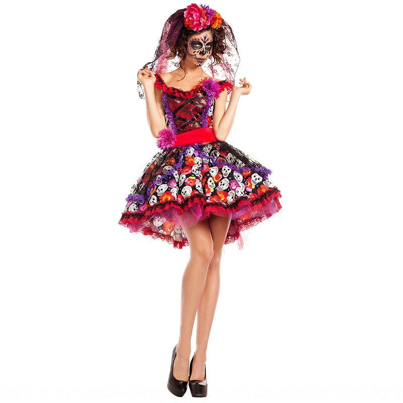 2019 New Halloween rose crâne imprimé robe de mariée fantôme formelle fête fantôme Pâques magnifique robe de mariée