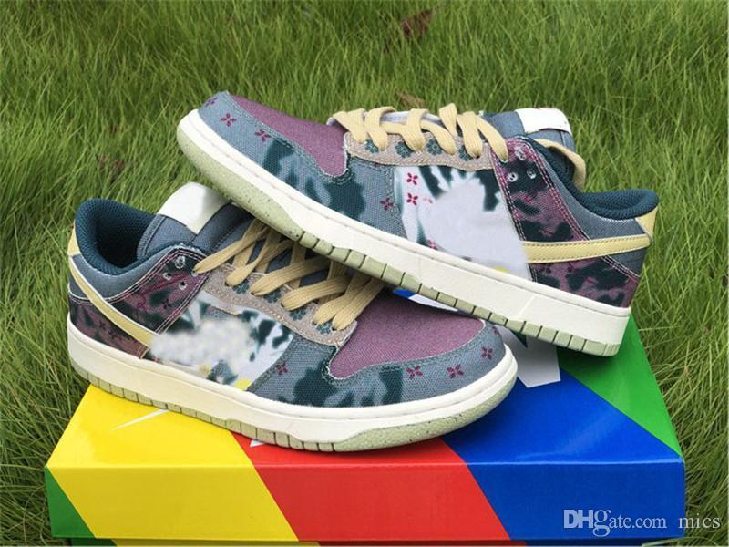 2020 Zapatos auténticos Dunk Low SP limón Lavar multicolor medianoche Turquesa-cardenal rojo mujeres de los hombres zapatillas de deporte del monopatín deportes con la caja